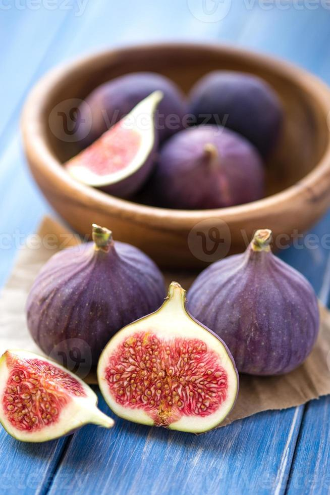 Figs on rustic table photo