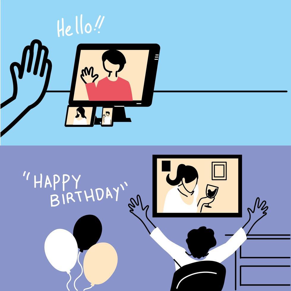 personas en video chat celebrando vector