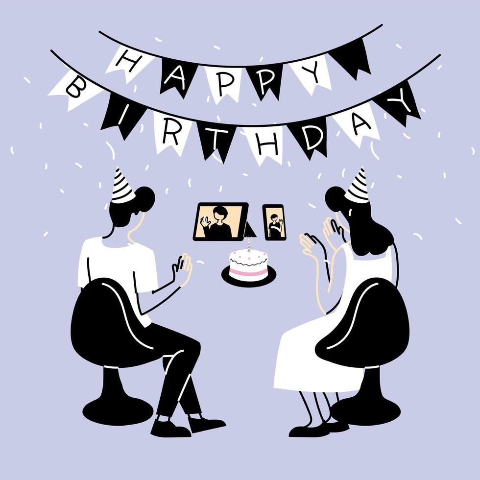 mujer y hombre con sombreros de fiesta y pantallas vector