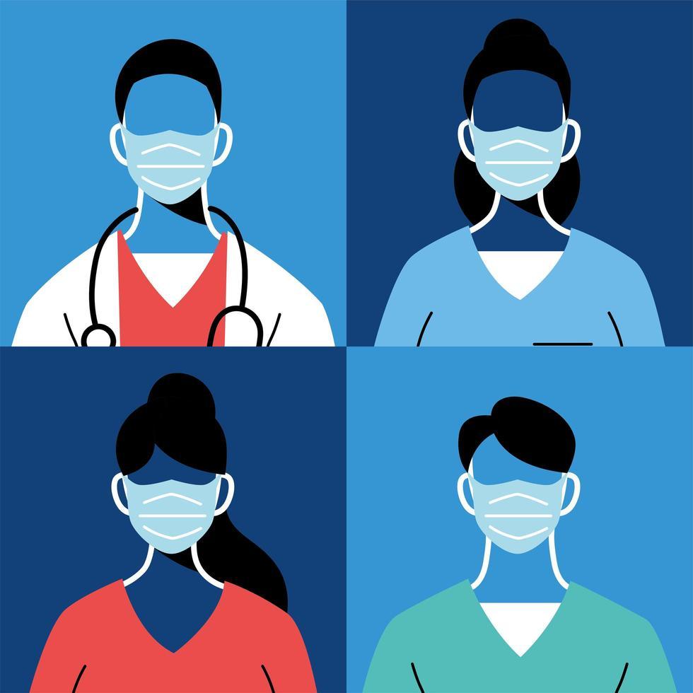 médicos masculinos y femeninos con máscaras y uniformes vector