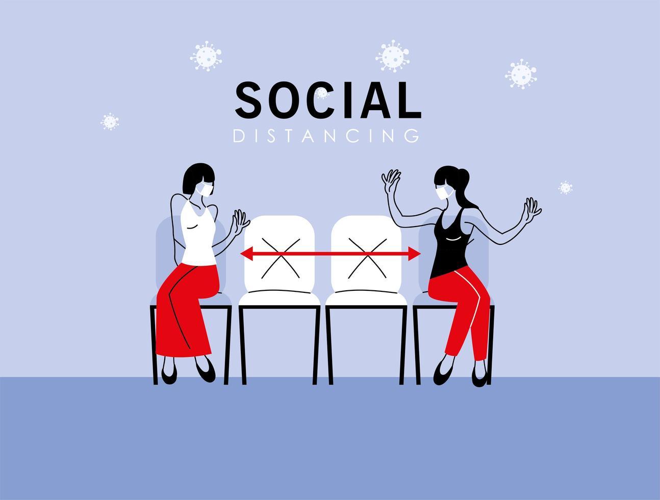 distanciamiento social entre mujeres con máscaras en sillas vector
