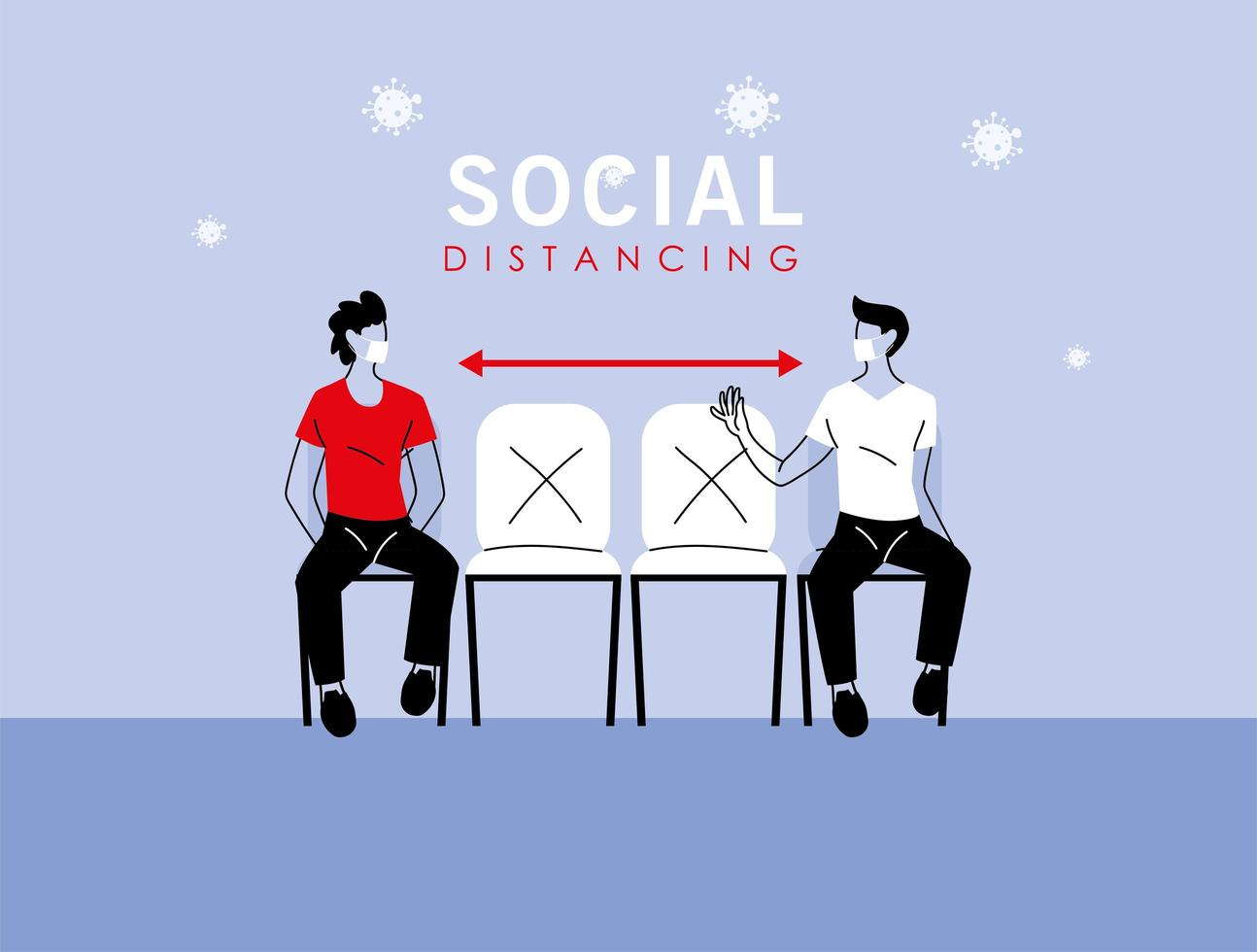 Social distancing between men with masks on chairs vector