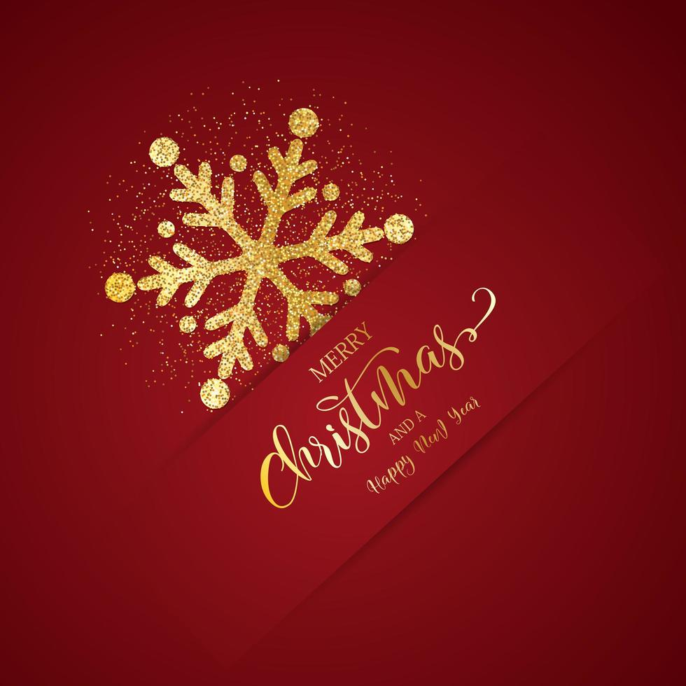 Christmas background with glittery snowflake vector