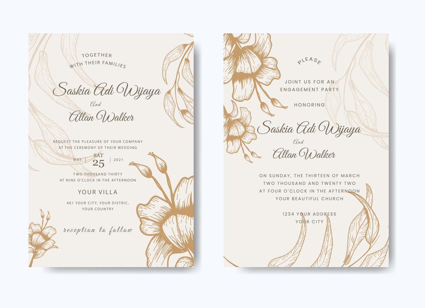 Elegant floral wedding invitation set vector