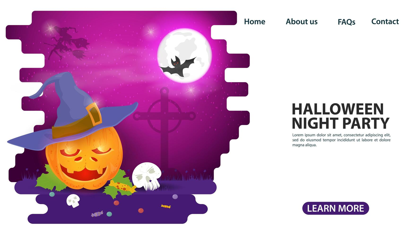 calabaza de halloween en diseño de página web de sombrero de bruja vector