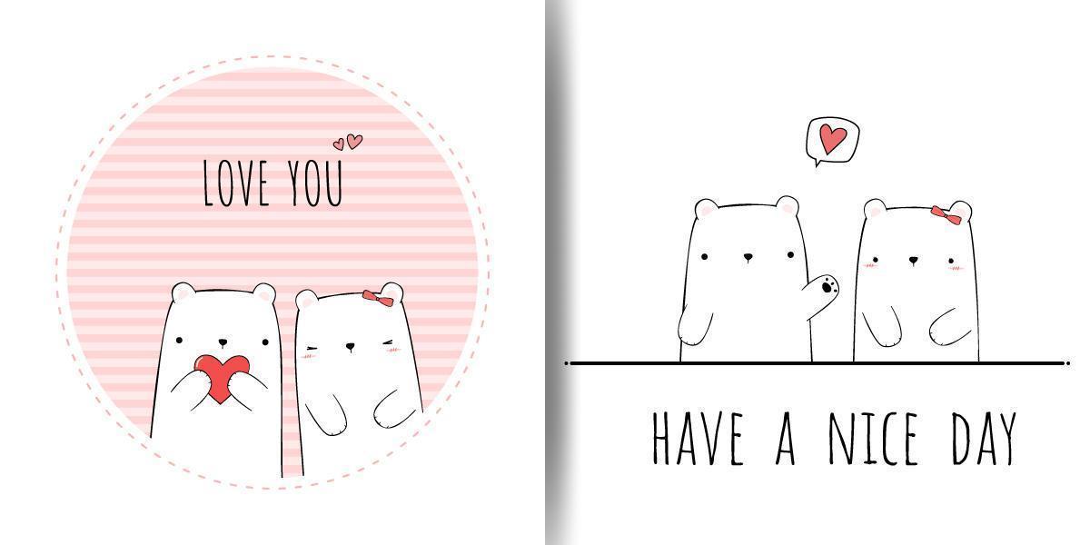 Cute Bear Couple Cartoon Doodle Cards vector