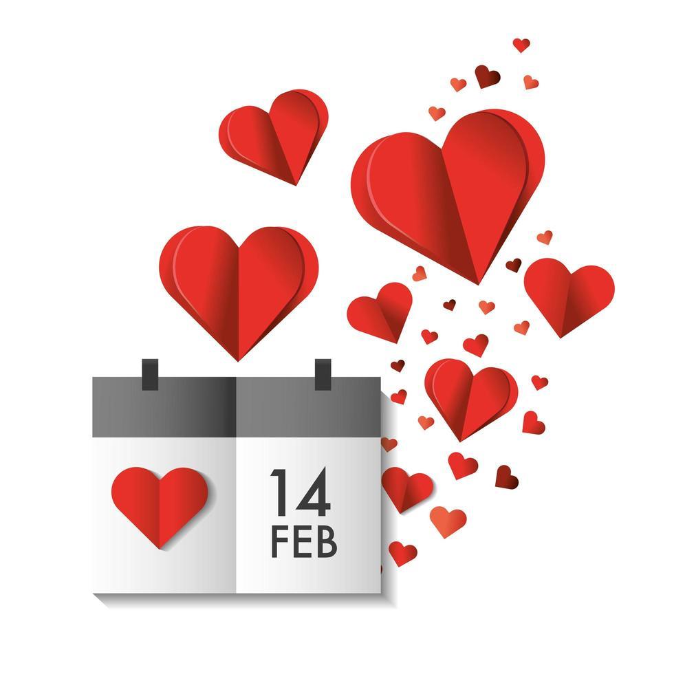Corazones de papel y calendario para la celebración del día de San Valentín. vector