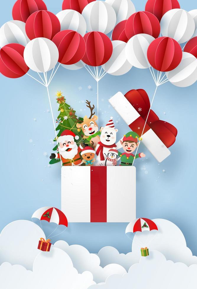 cartel navideño cortado en papel con personajes de dibujos animados vector
