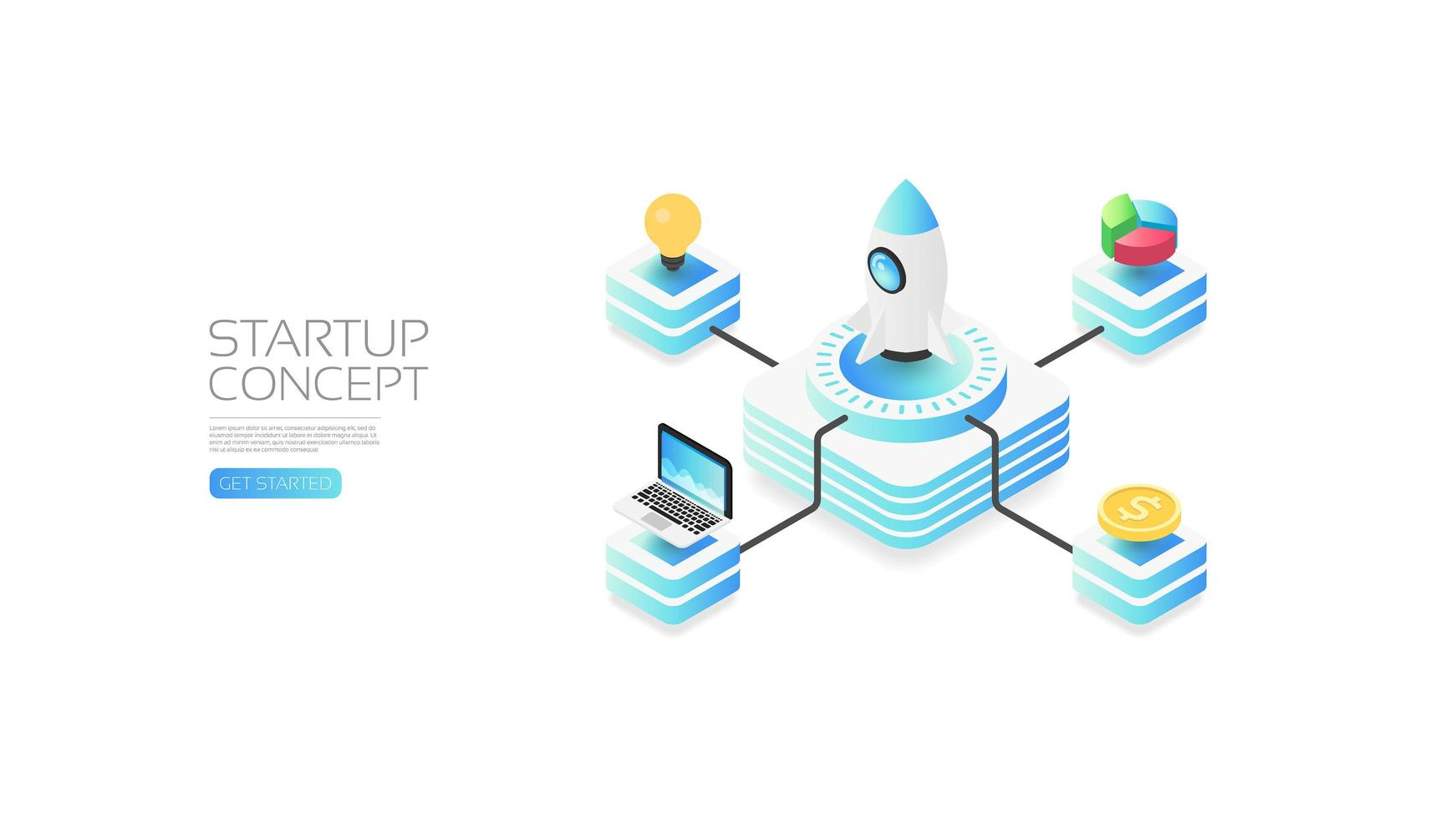 Isometric startup concept with rocket and icons vector