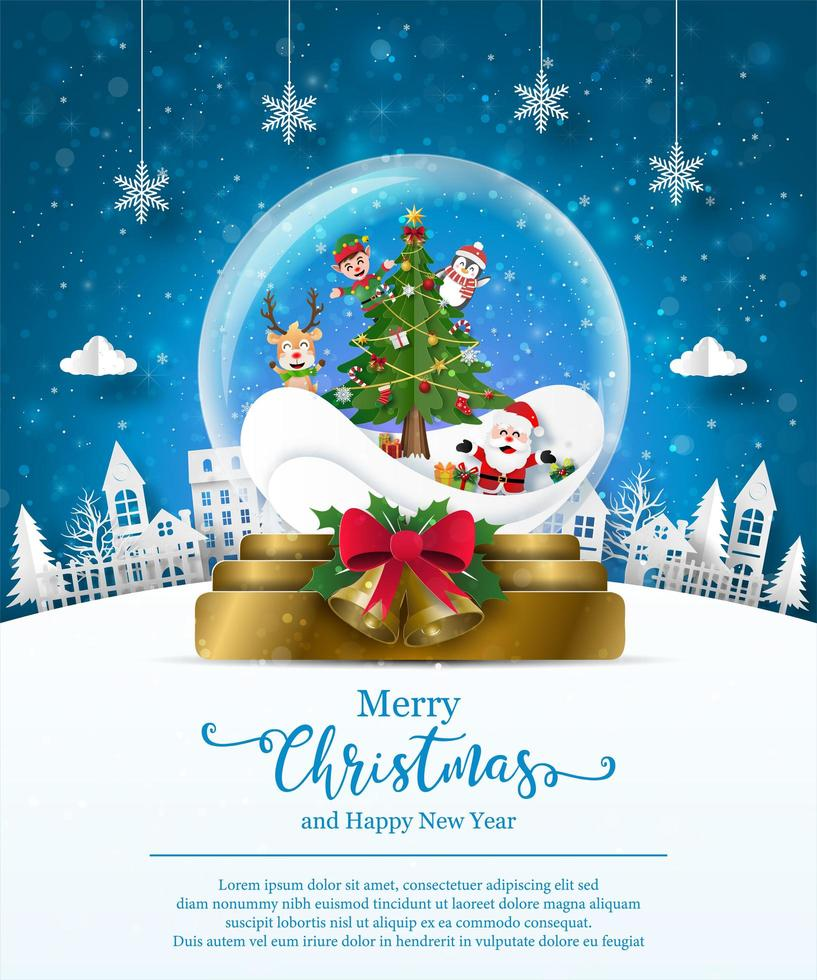 Christmas poster template with snow globe vector