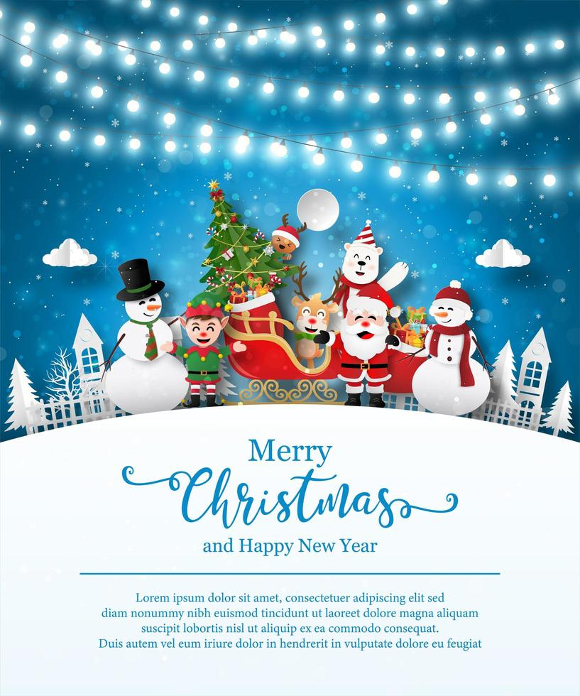 Christmas poster template with Santa Claus and friends vector