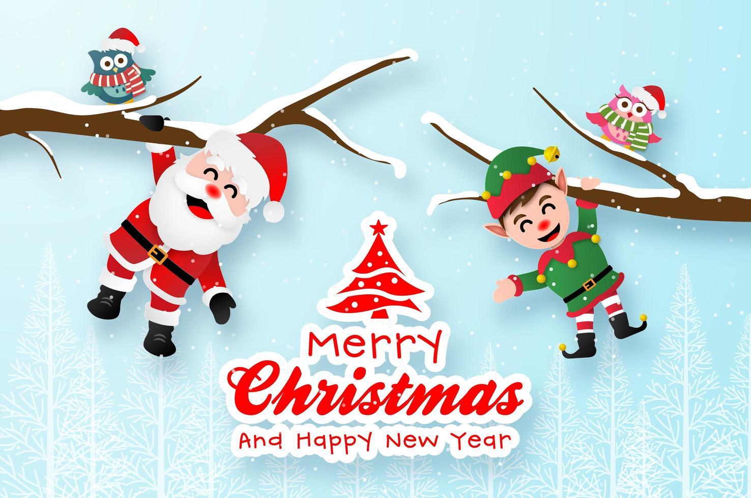 postal navideña con santa claus y elfo vector