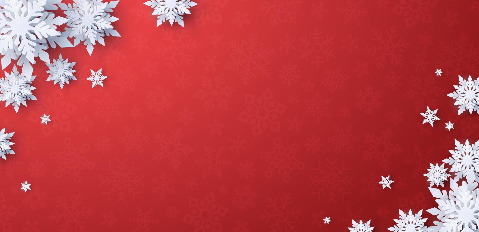 Christmas red banner background with snowflakes vector