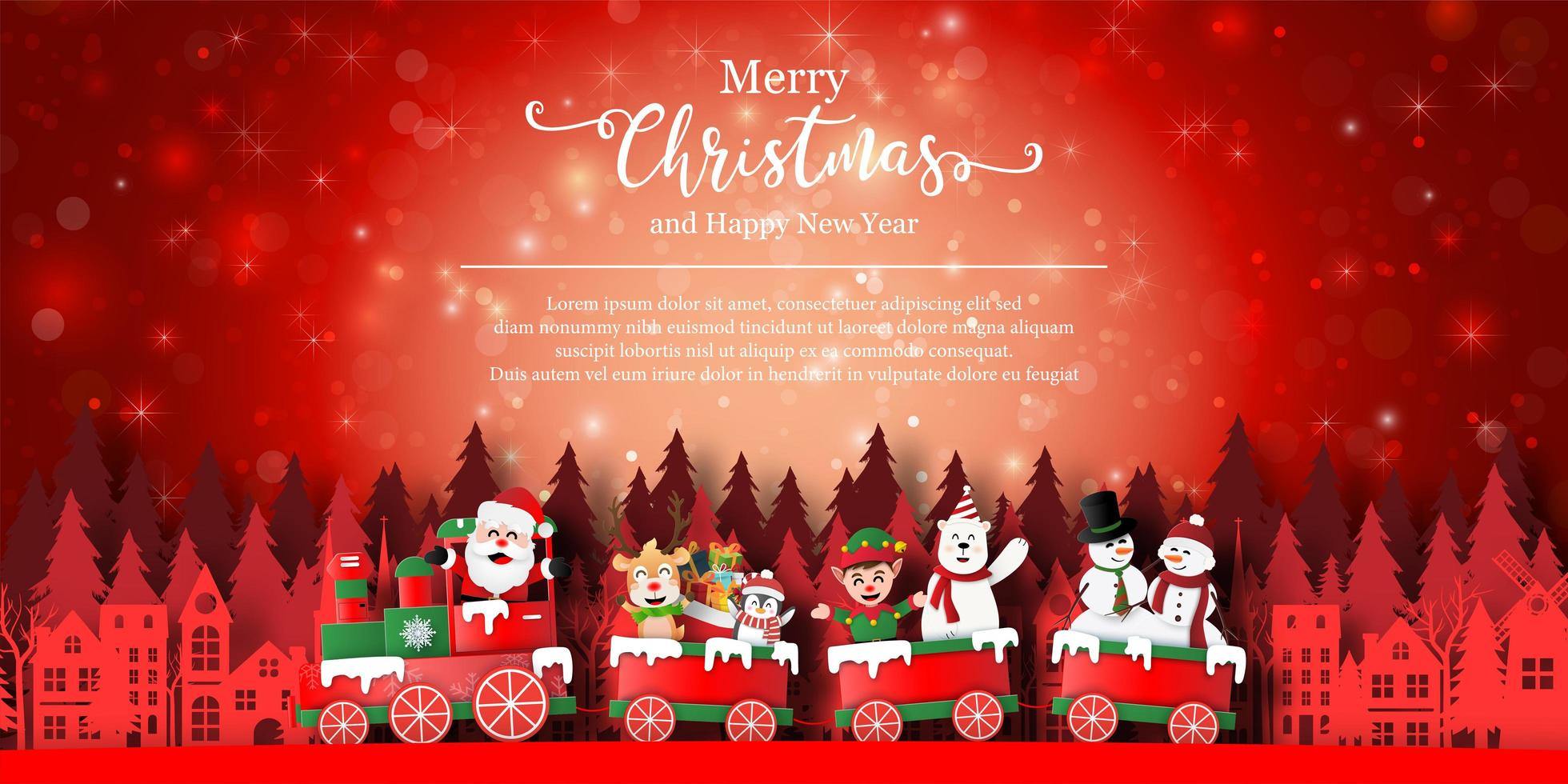 Merry Christmas banner with holiday characters on train vector