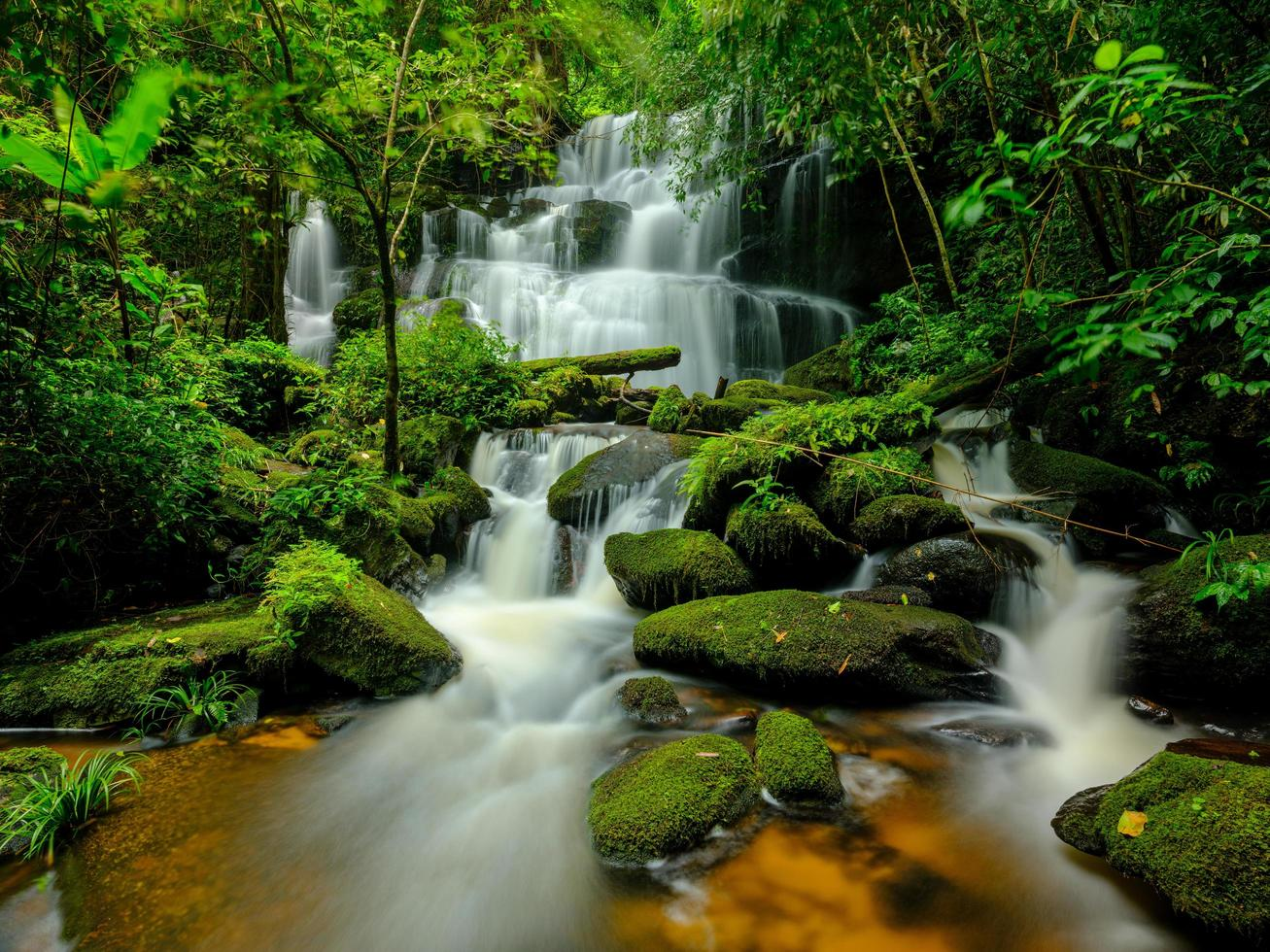 Smooth waterfall background photo
