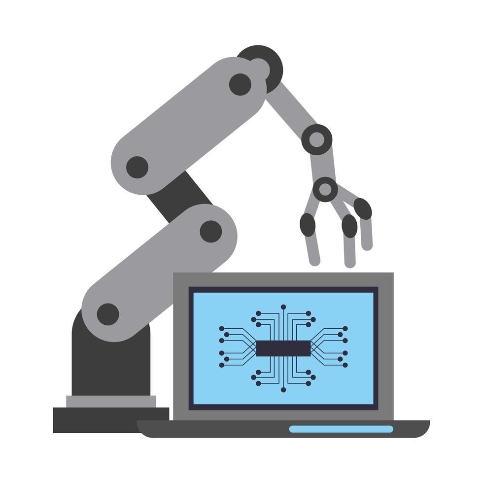 concepto de inteligencia artificial con brazo robot vector