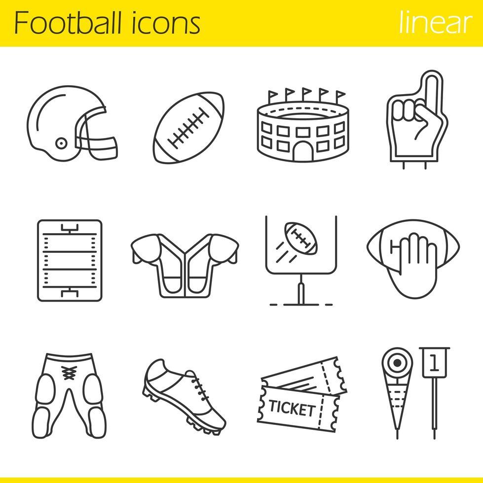 American football linear icons set vector