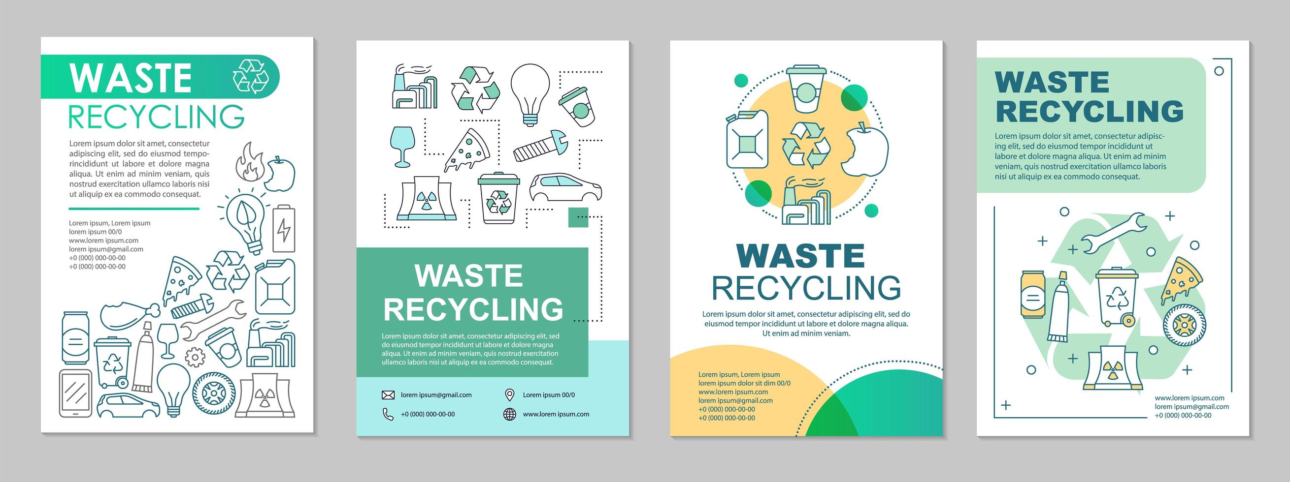 Waste recycling brochure template layout vector