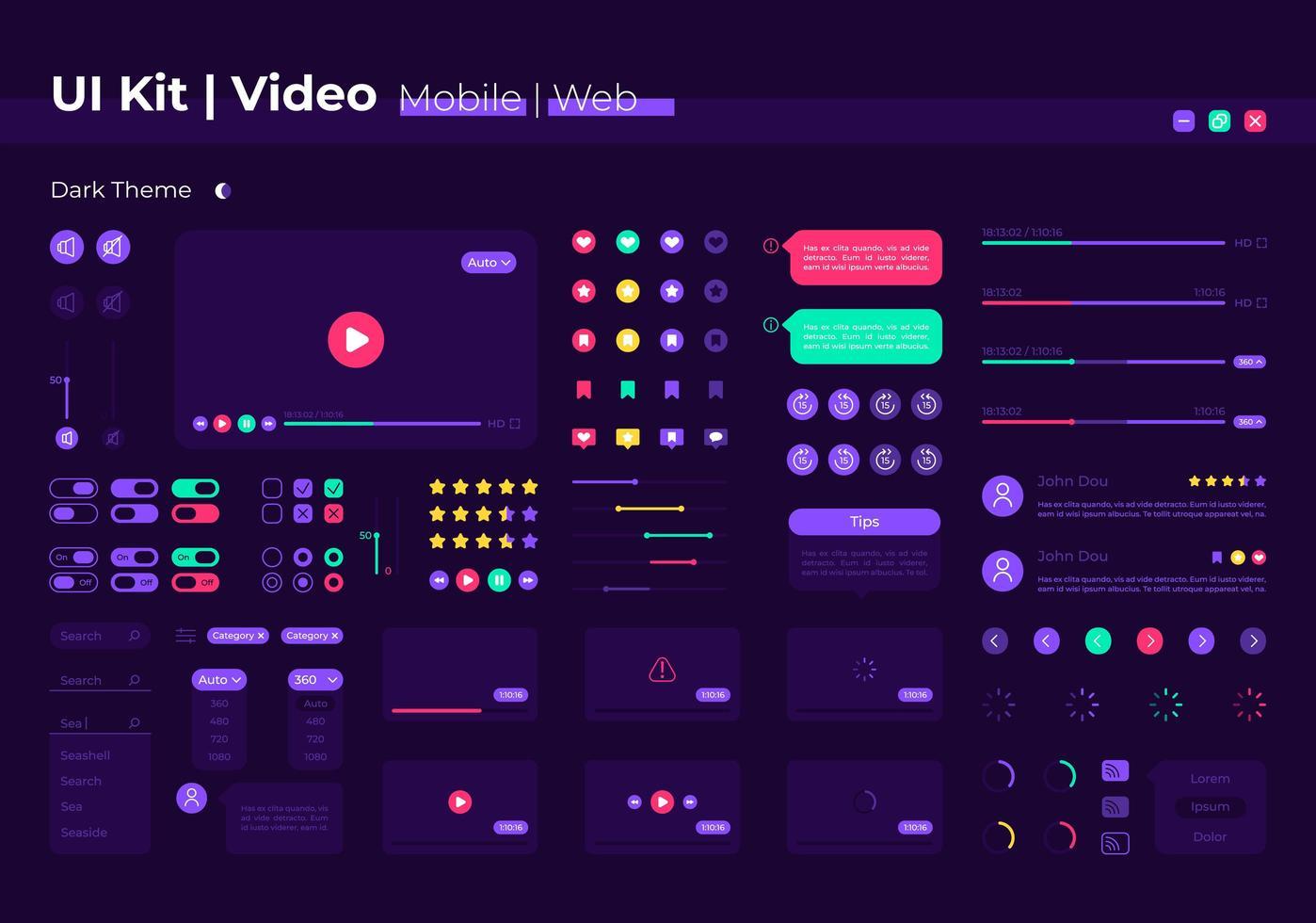 kit de elementos de interfaz de usuario de video vector