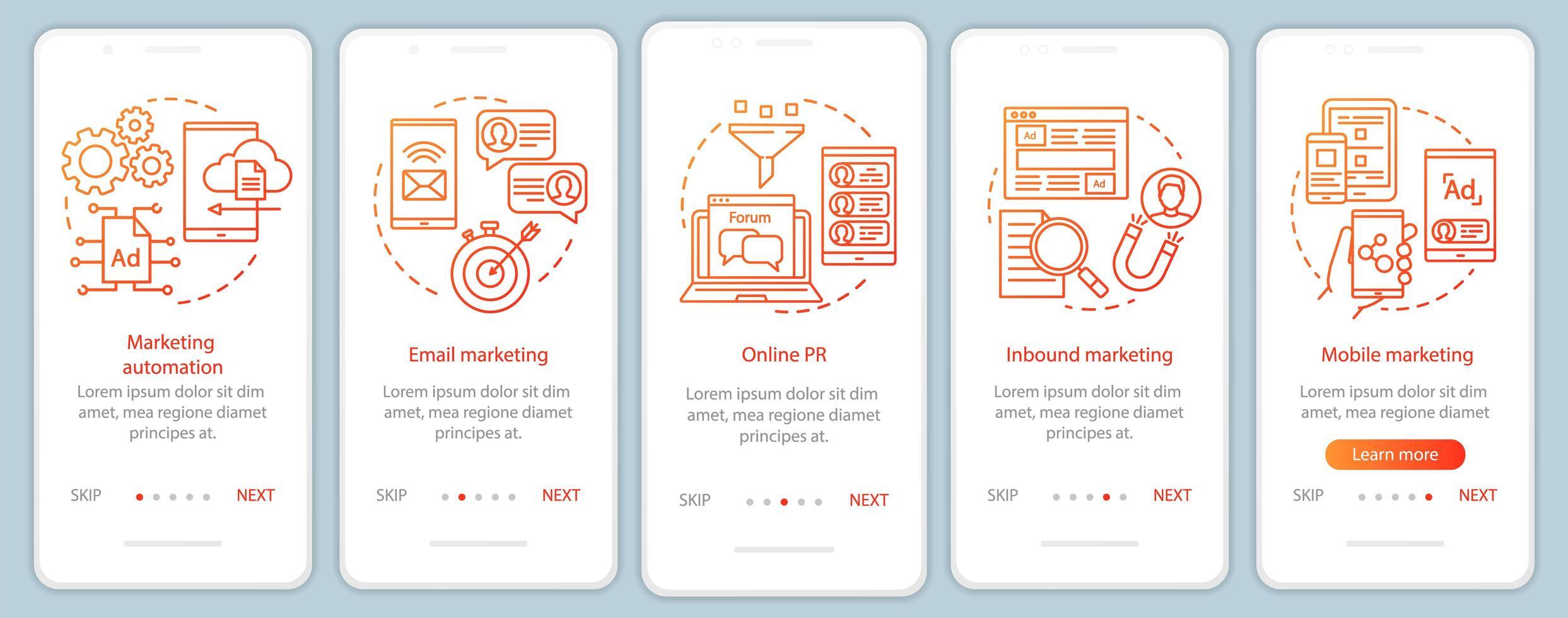 Digital marketing tactics orange onboarding screens vector