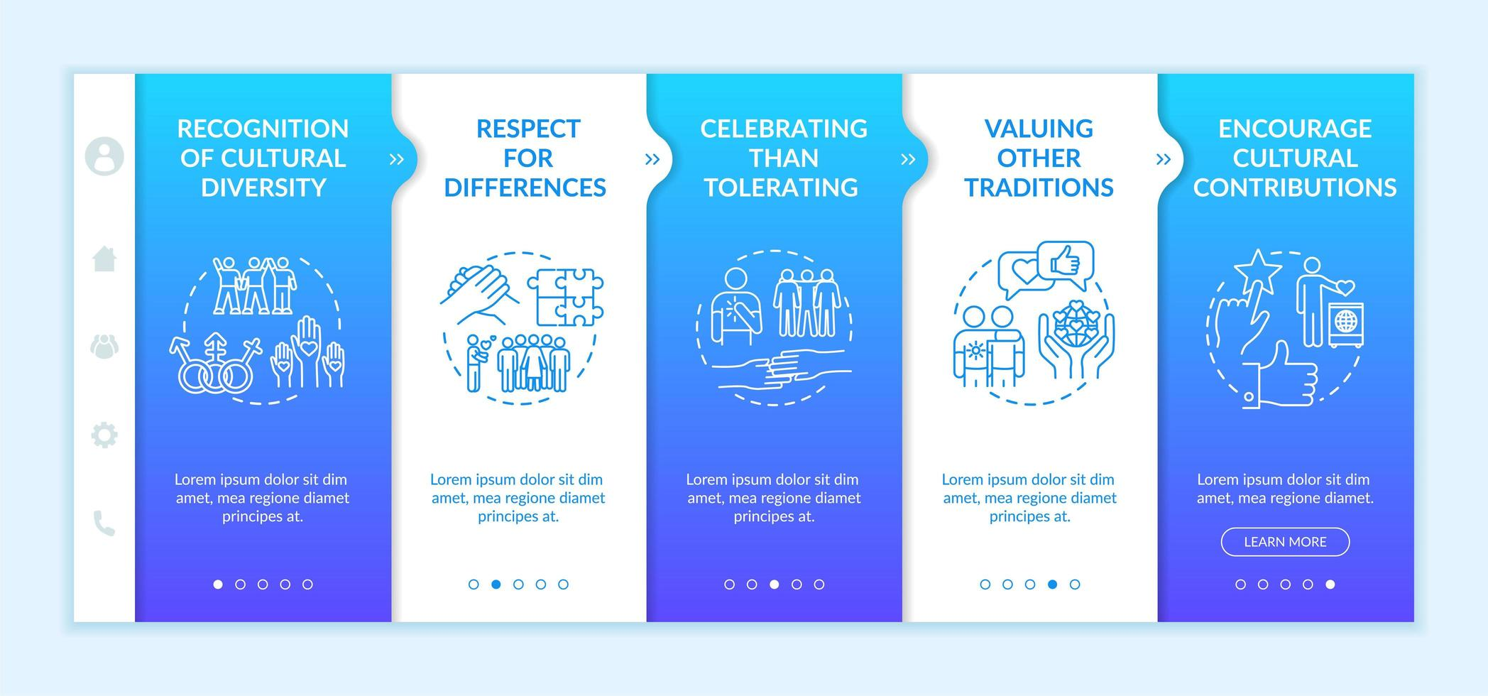 Multi national empowerment onboarding templates vector