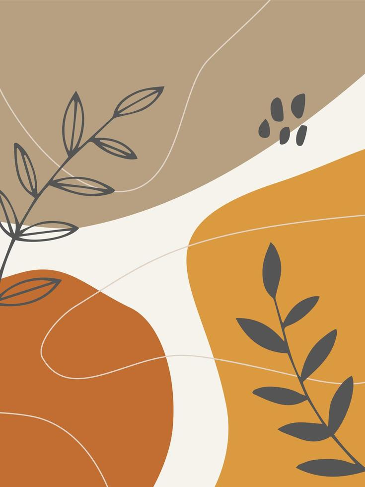 Abstract Plants and Organic Shapes Trendy Background vector