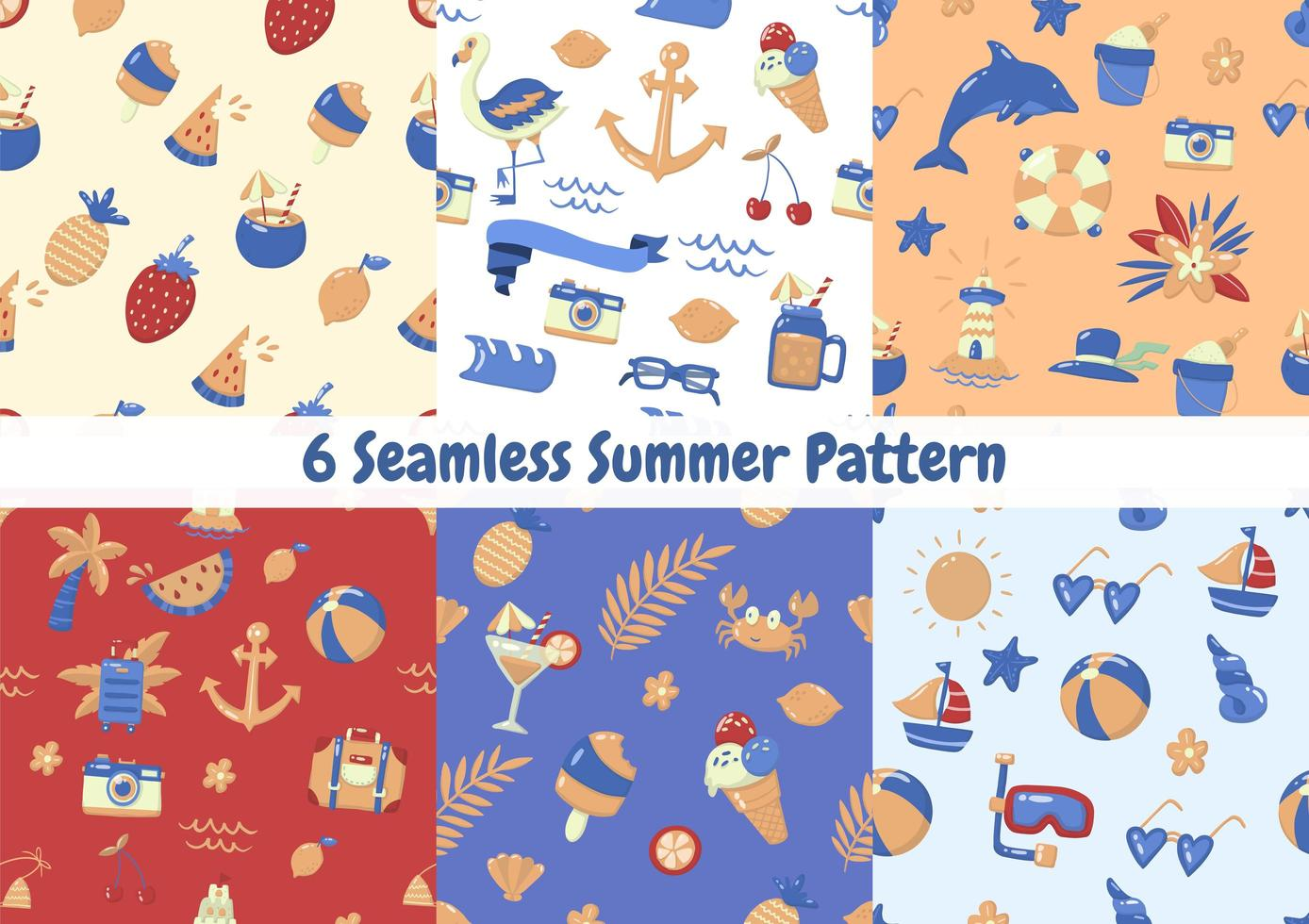 Cartoon style summer element seamless pattern set vector