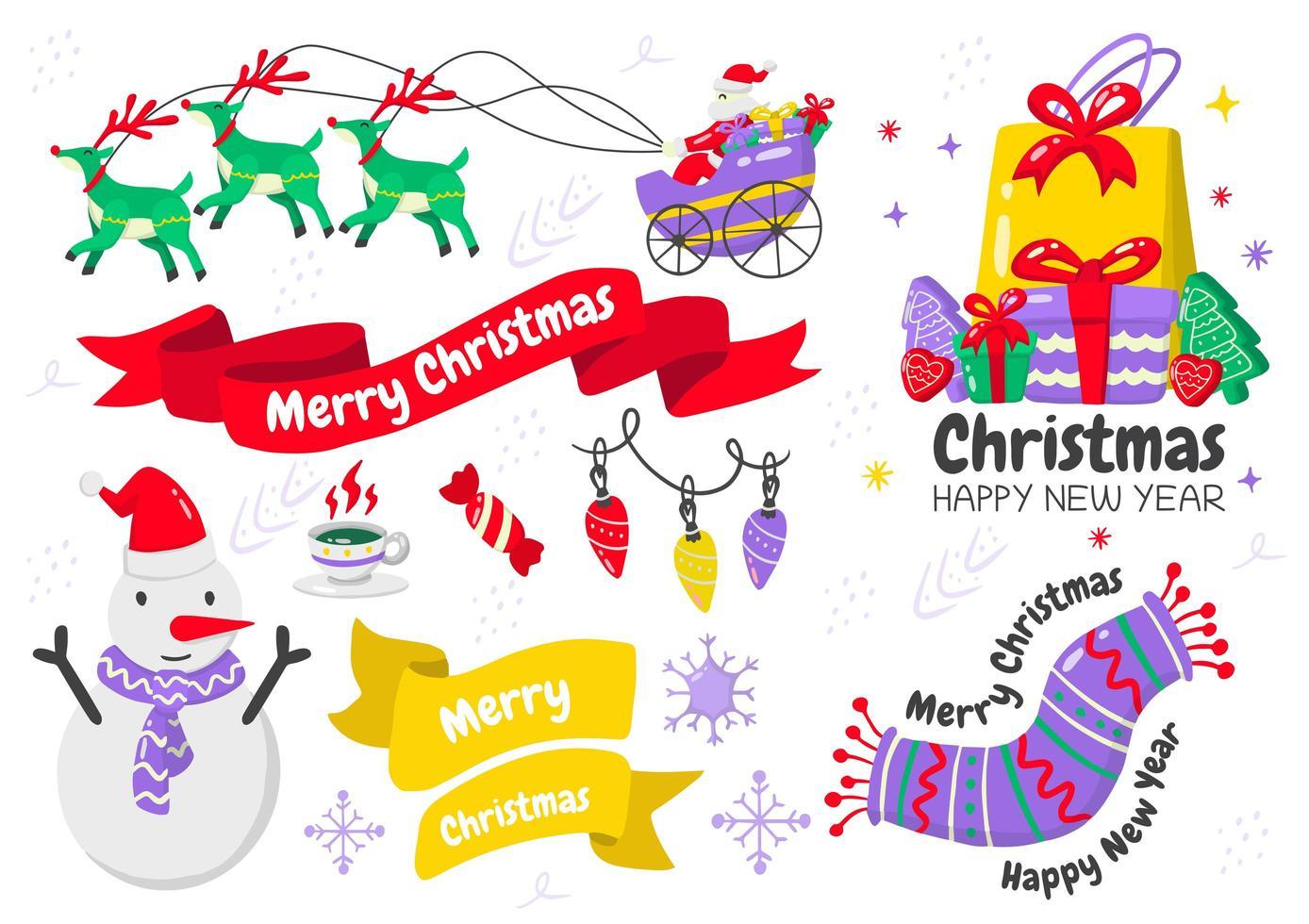 Cartoon style Christmas element and emblem set vector
