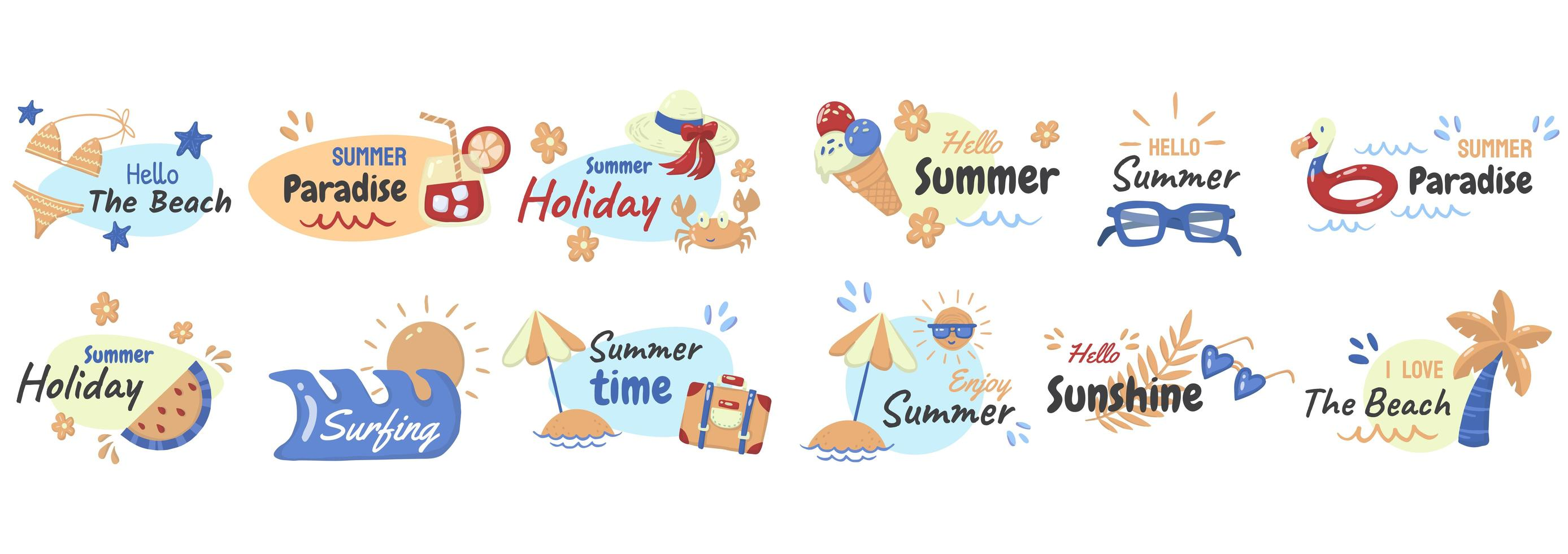 Cartoon style summer phrase and element set vector
