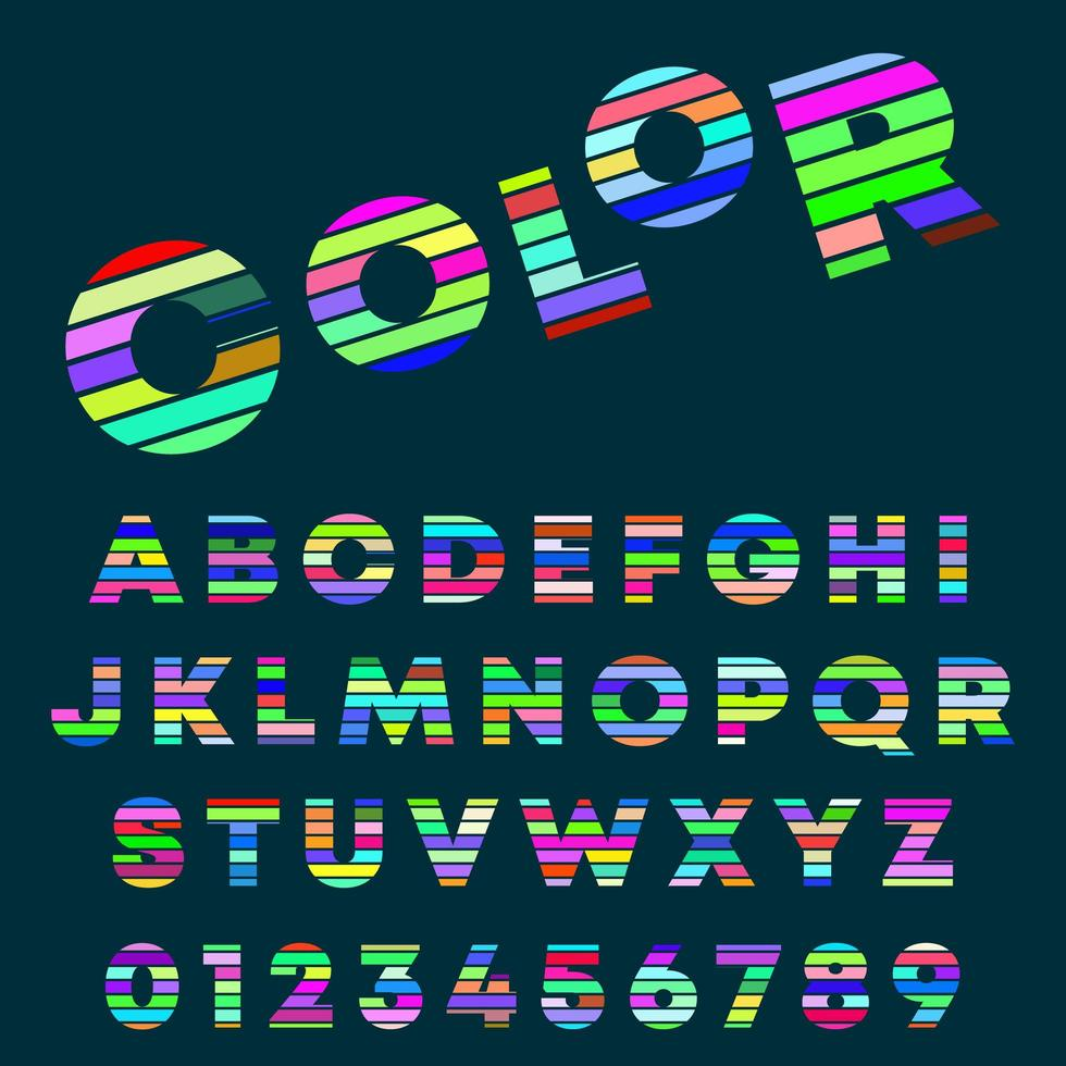 Alphabet letters and numbers color design vector