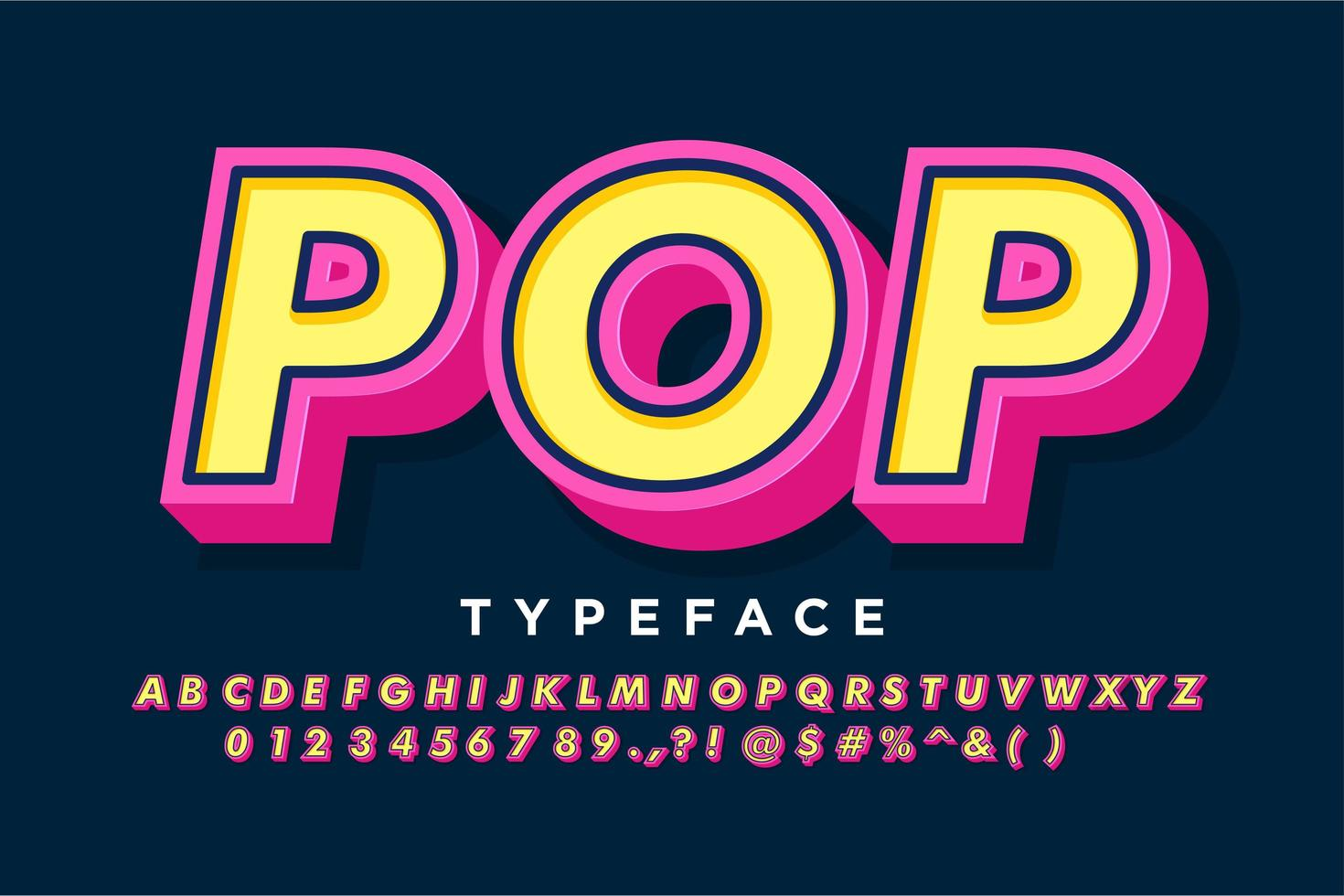 Pink and yellow retro alphabet style vector
