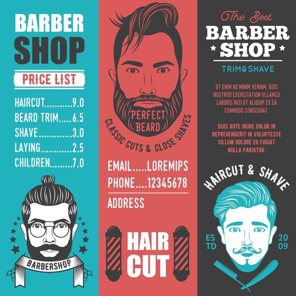 Barber shop banner set vector