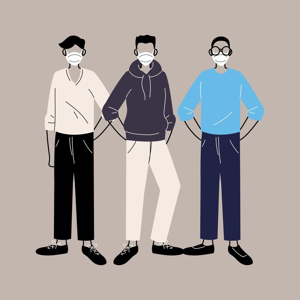 People in protective medical face masks vector