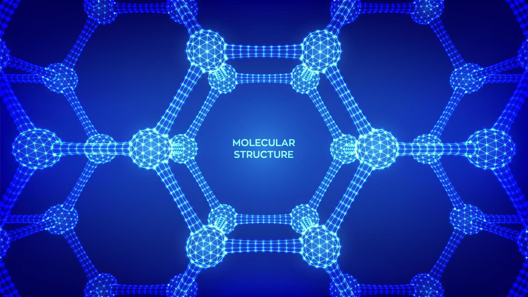 banner futurista de estructura molecular vector