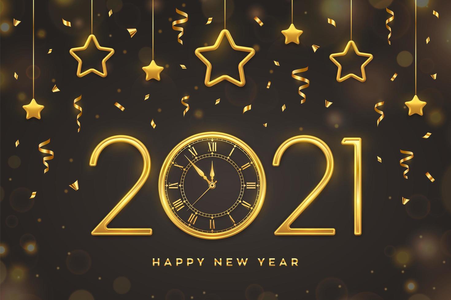 año nuevo texto dorado, reloj y estrellas colgantes. vector