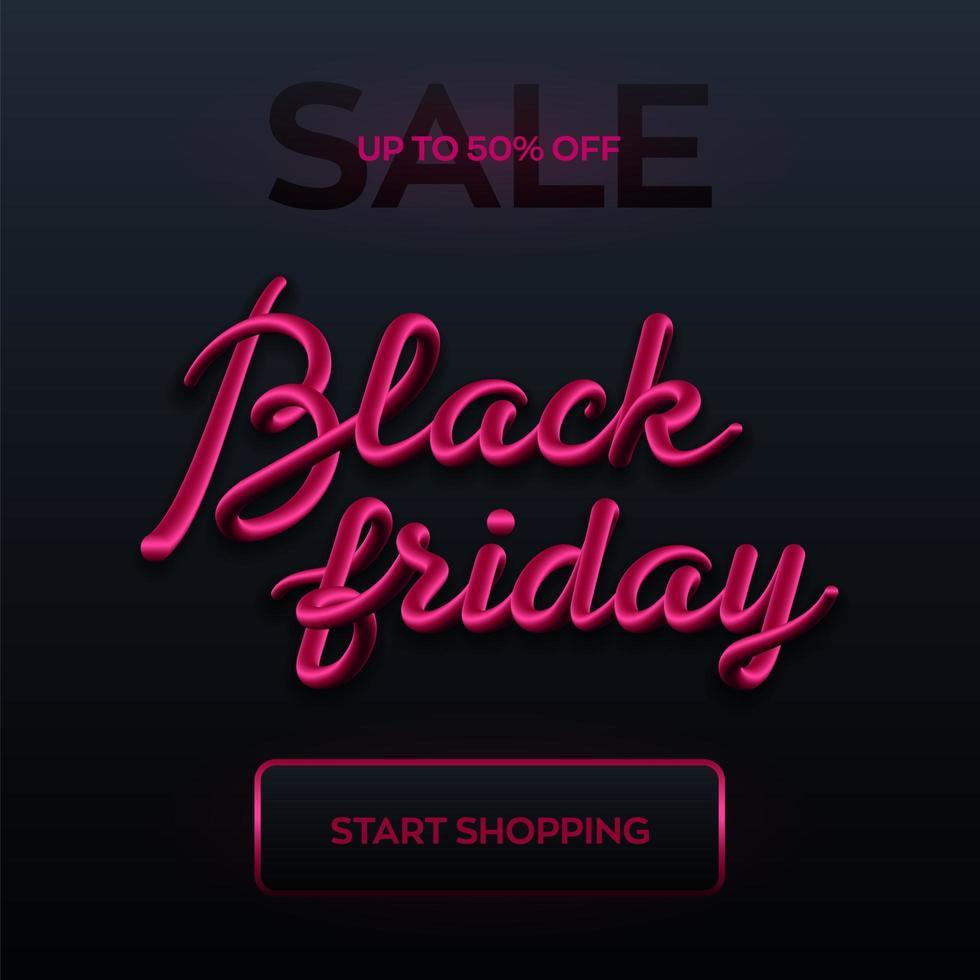 Shiny pink Black Friday sale banner vector