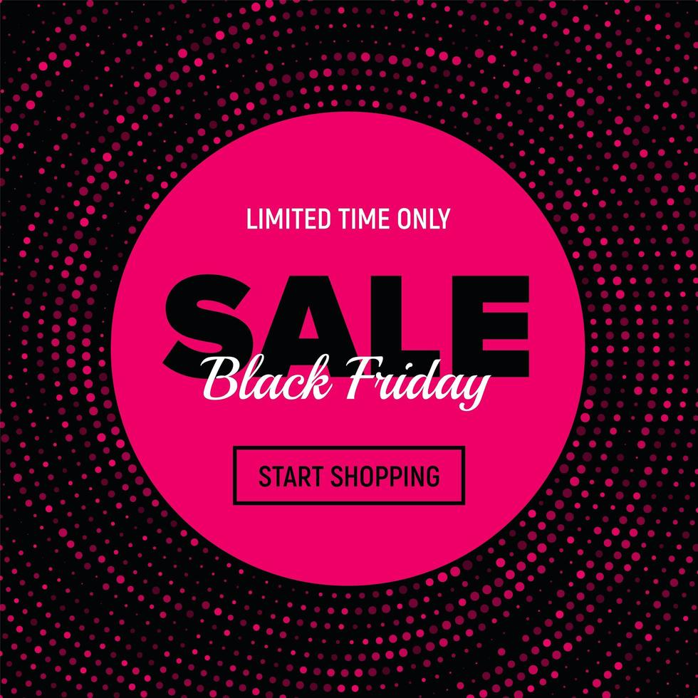 Pink Dotted Black Friday Sale Banner vector