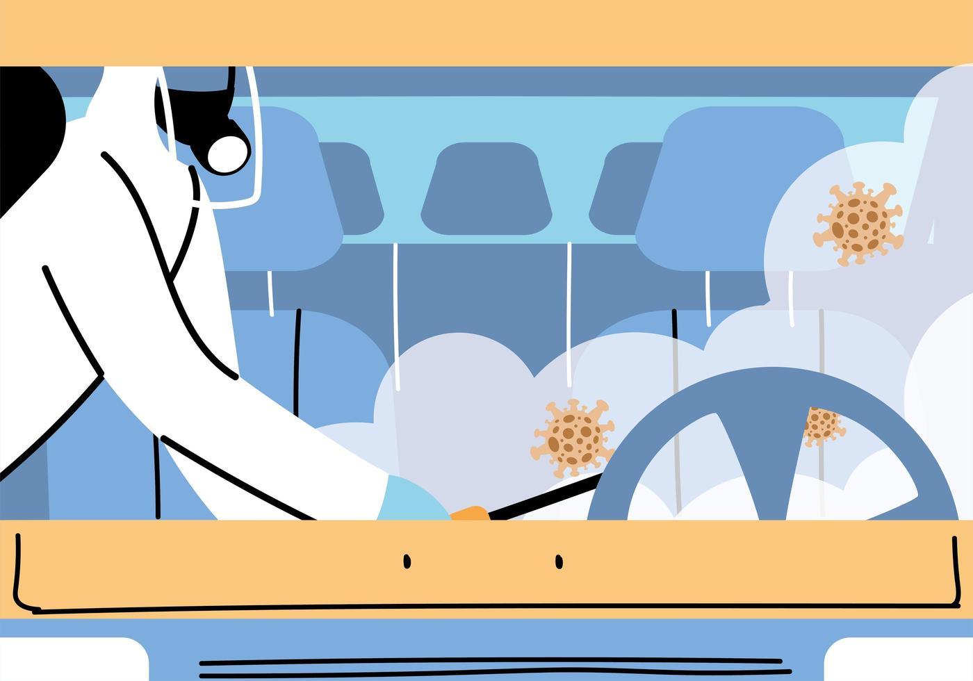 Desinfección de vehículos de servicio de coronavirus o covid 19 vector