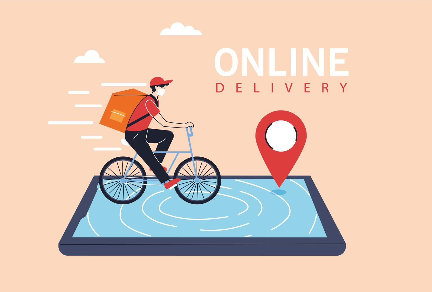 Delivery man with protective face mask on bicycle vector