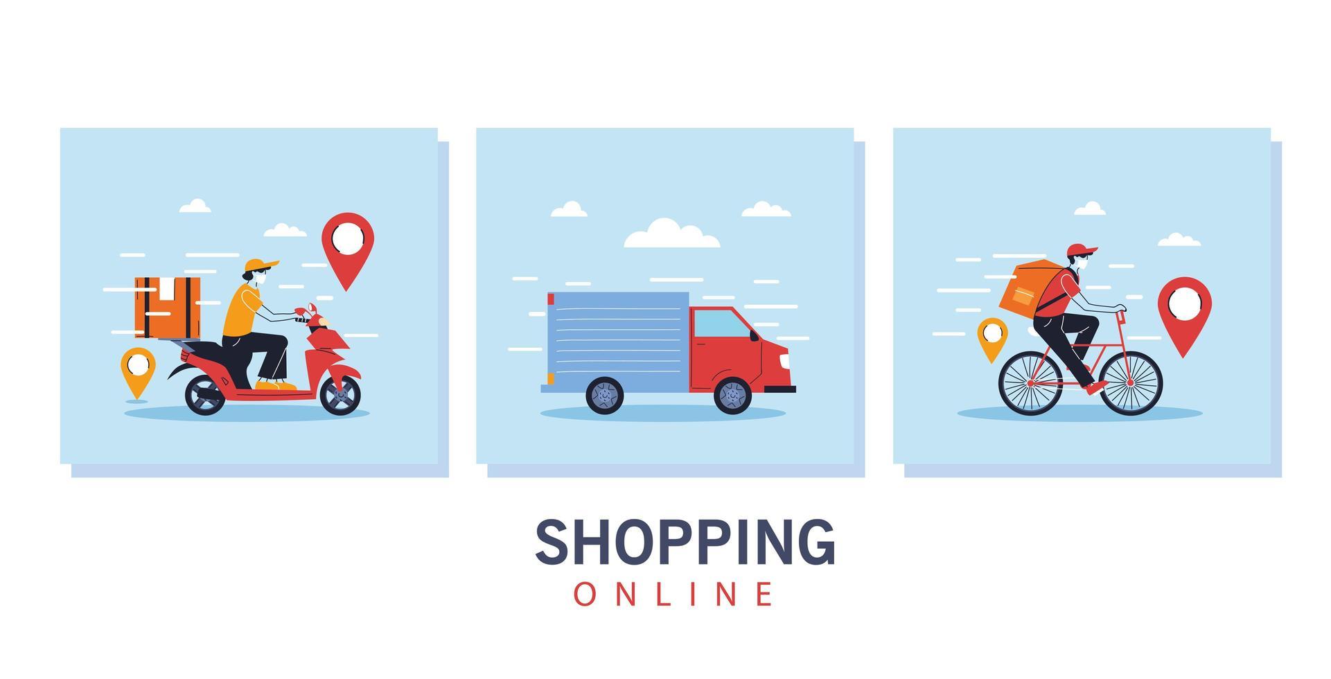 Delivery, service, transportation and logistics scene set vector