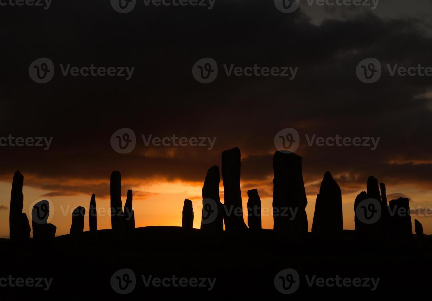 Sunset at Callanish standing stones photo