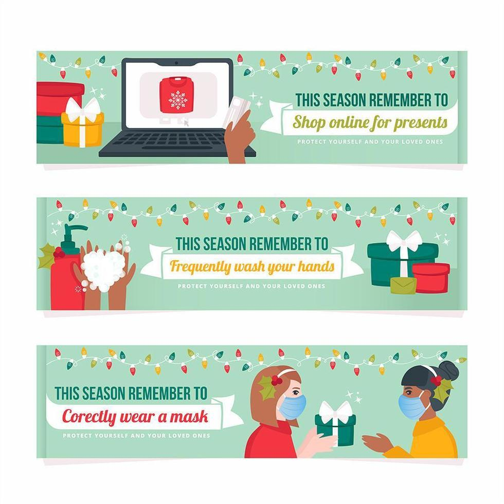 New Normal Holidays Banner Set vector