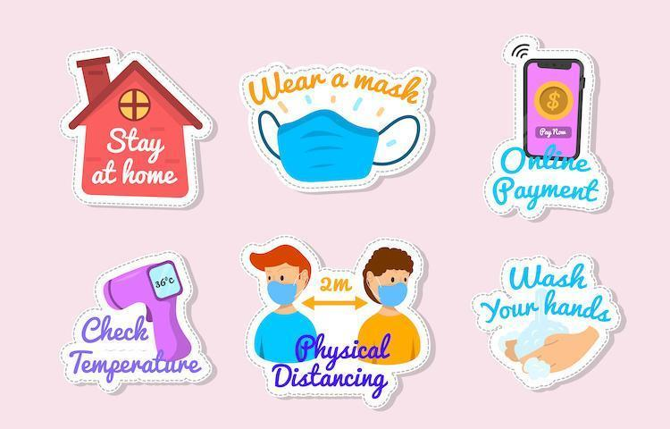 Colorful New Normal Protocol Sticker Collection vector
