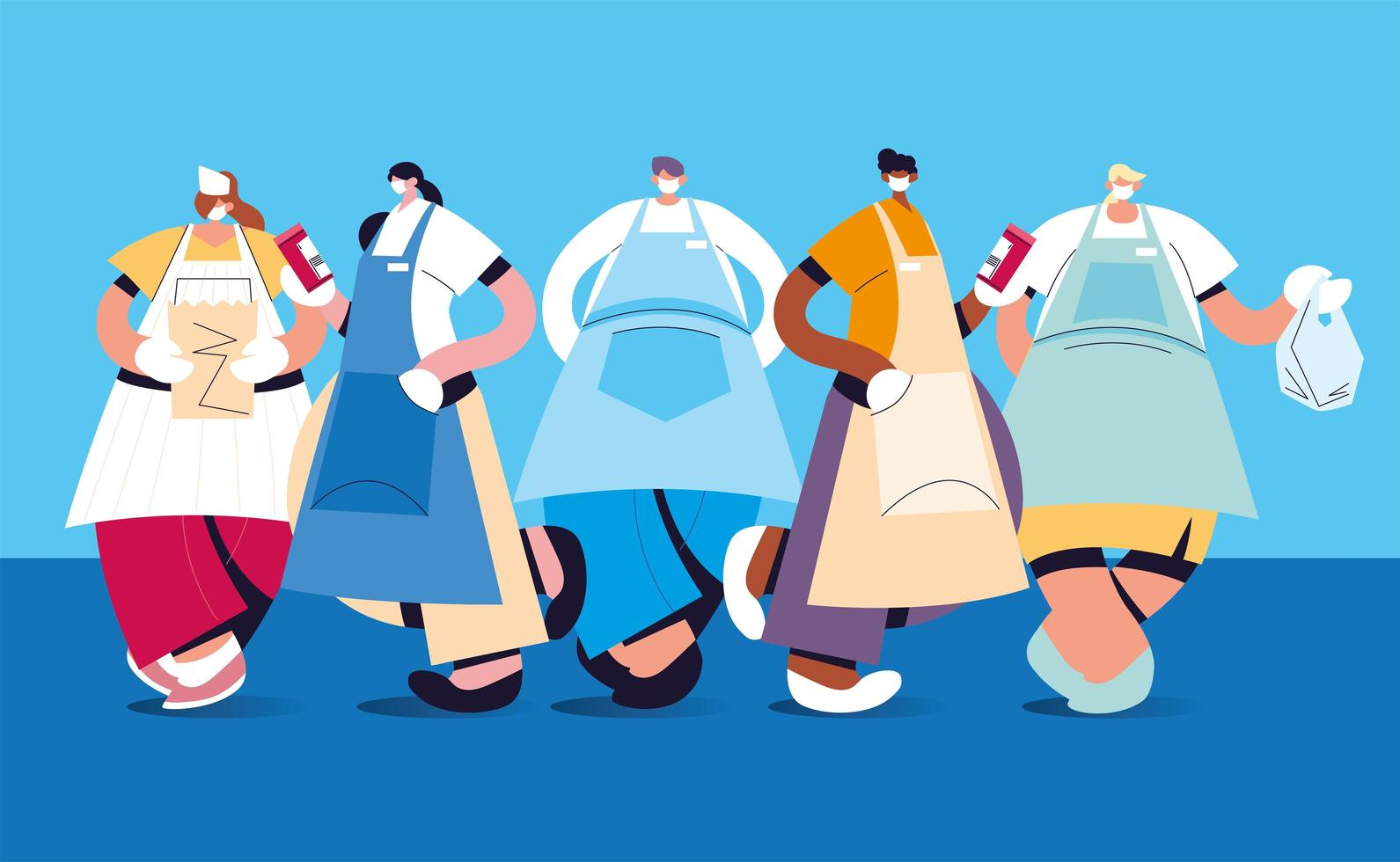 Group of waiters with face mask and uniform vector