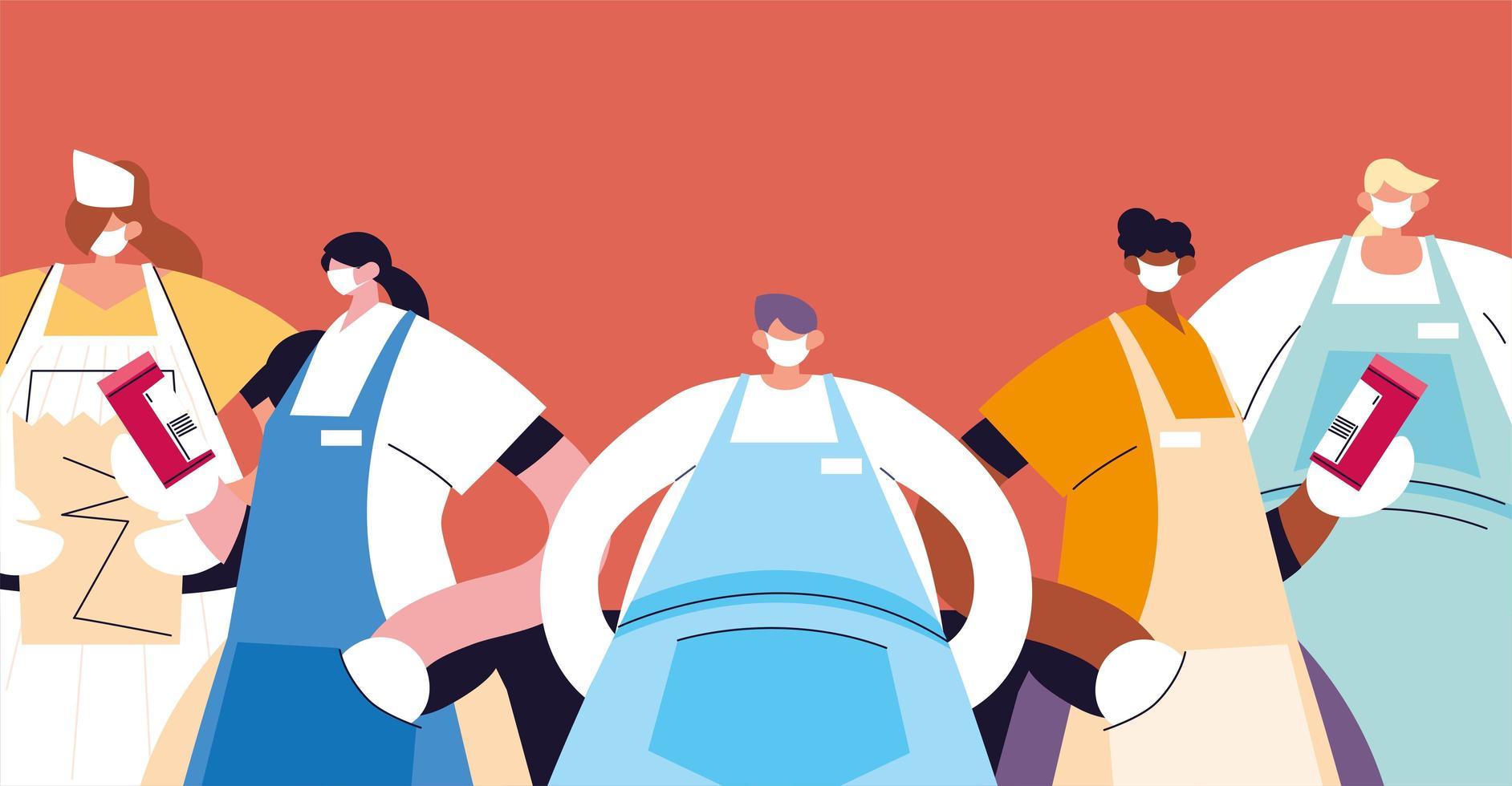 grupo de camareros con mascarilla y uniforme vector