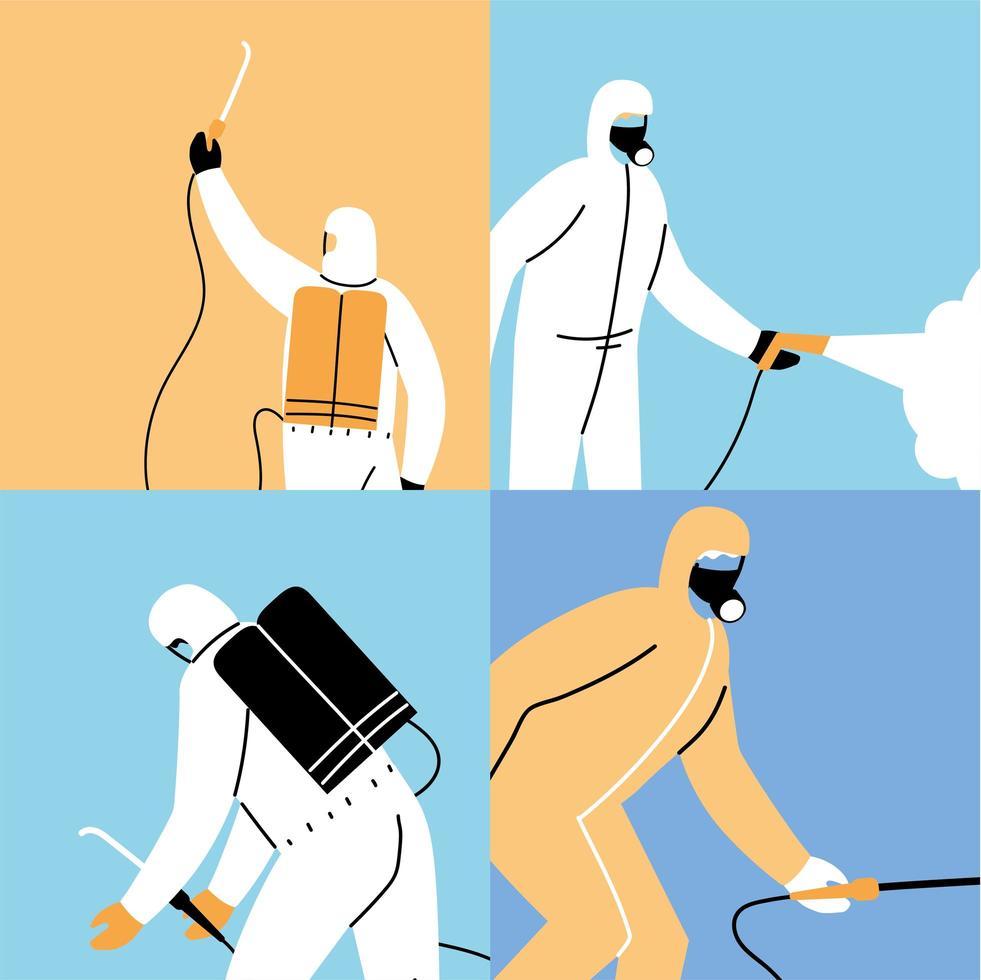 Teamwork wear protective suit, disinfection by coronavirus vector