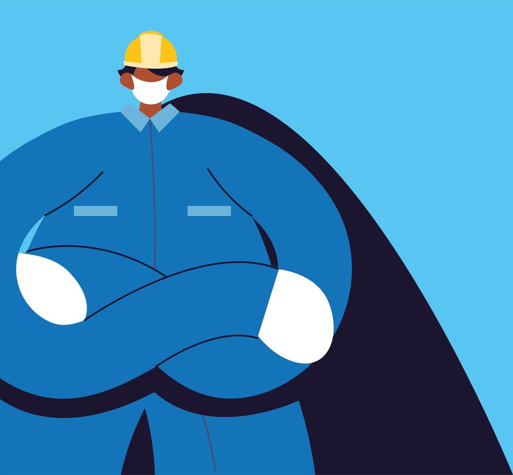Engineer man with face mask and uniform vector