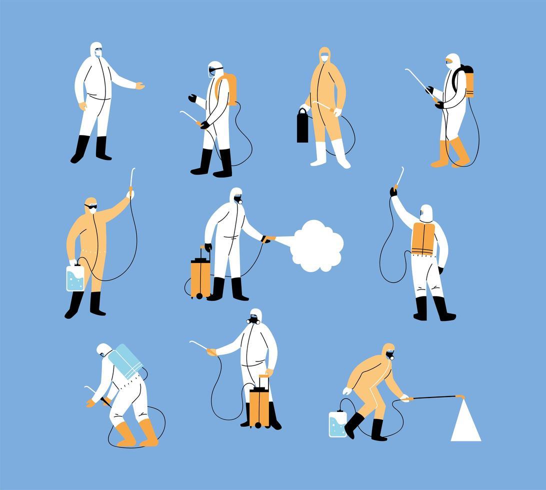 Work teams wear protective suit, coronavirus disinfection vector