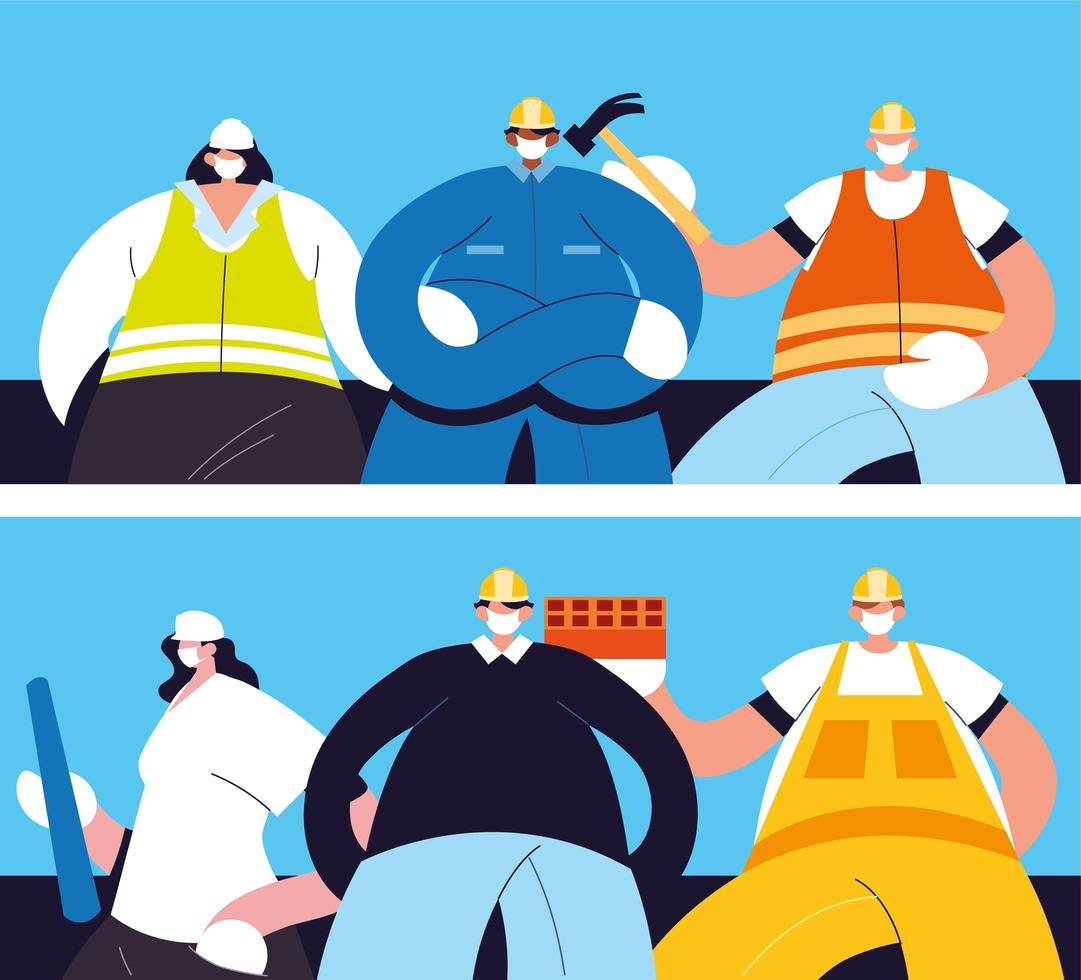 Group of technicians and engineers with face mask vector
