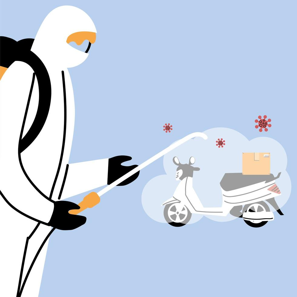 Service motorcycle disinfection by coronavirus or covid 19 vector